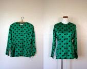 FREE USA SHIPPING / Vintage Shirt / 80's Silk Oleg Cassini Polka Dot Blouse / Medium Large