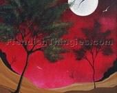 "Trust 8"" x 10"" print of an original acrylic painting by Owen Klaas red tree path"
