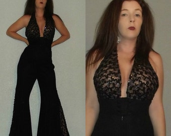853 Outrageously Mod SM Vtg 60s 70s Black Lace Sequin Backless Halter Bell Bottoms Palazzo Pants Jumpsuit Romper