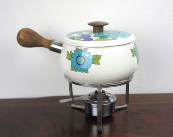 Vintage Enamelware Floral White, Blue, and Green Fondue Set, Complete with Pot, Stand, and Burner, Enameled Steel, 1960s, Kitsch, 240007