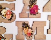 Felt wildflower wooden letter