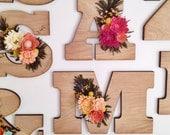 Felt wildflower wooden letter or number