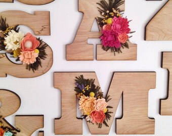 Felt wildflower wooden letter or number