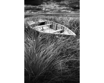 Old Weathered Row Boat abandoned in the Grass on a Beach On Prince Edward Island Canada No.3213BW A Black and White Seascape Boat Photograph