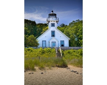 Old Mission Point Lighthouse in Grand Traverse Bay on Lake Michigan By Traverse City No.2.1 A Fine Art Lighthouse Seascape Photograph
