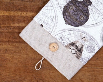 50% OFF SALE White Linen iPad Case with dark hot air balloons print pocket. Padded Cover for iPad 1 2 3 4. iPad Sleeve Bag.