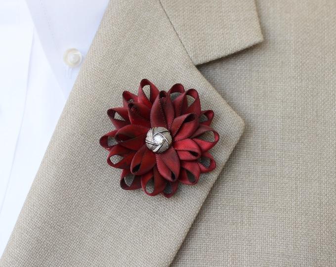 Mens Lapel Flower, Mens Flower Lapel Pin, Dark Red Boutonniere, Gifts for Men, Lapel Flower for Men, Men's Lapel Pin, Red Lapel Flower Pin