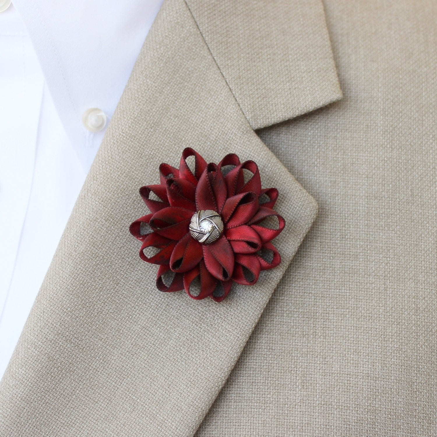 Mens Lapel Flower Mens Flower Lapel Pin Dark Red Boutonniere Gifts for Men