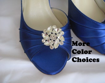 SALE - Blue Wedding Shoes Blue Bridal Shoes with Crystal Flower Brooch Bridesmaids Shoes Over 100 Custom Color Choices
