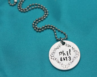 Phil 4:13 Personalized Hand stamped Scripture Necklace