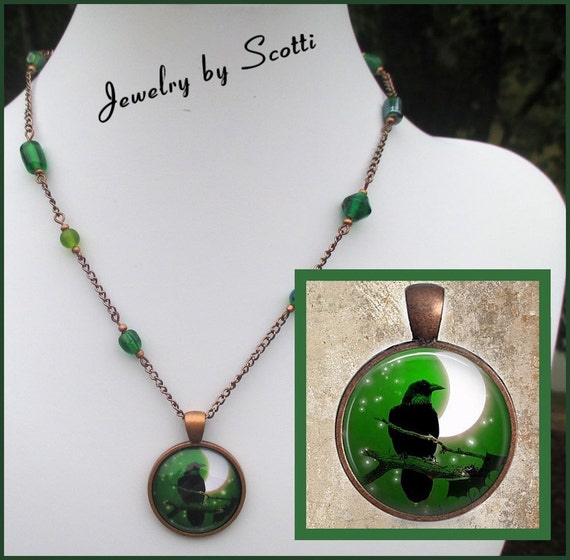 Raven Spirit Necklace // Copper Pendant // Green Glass // Toggle Clasp // 17-1/2 inches // SRAJD