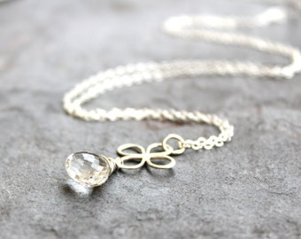 Quartz Crystal Necklace Sterling Silver Clover Link Charm Pendant Necklace, Clear Quartz Jewelry