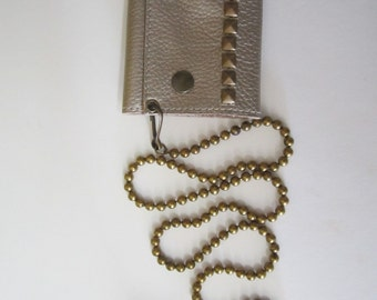 Antique brass leather pyramid stud wallet with Large ball chain.