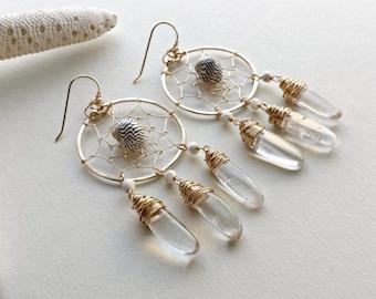 Crystal Dream Catcher Earrings, Shell Hoops, Bohemian Hoop Earrings, Hammered Gold Hoops, Crystal Chandelier, Dreamcatcher: Ready to Ship