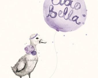 Baby Girl Nursery Art - Ciao Bella 'Hello Beautiful' 8x10 / A4 French Print, Purple Shabby Chic Wall Art Decor Watercolour of Duckling