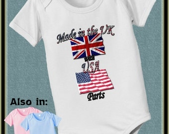 Made in the UK with USA Parts baby infant bodysuit American British country nationality flag one piece baby bodysuit, baby shower gift