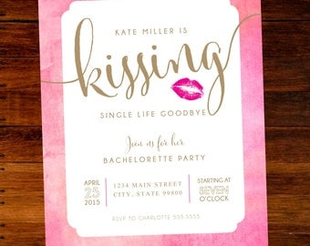 Kissing Single Life Goodbye Bachelorette Party Invitations - set of 15