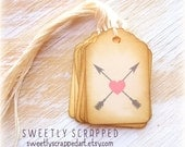 Arrows And Hearts Tags .... Tribal, Pink, Grey, Vintage, Aged, Labels, Wedding, Favor, Packaging,