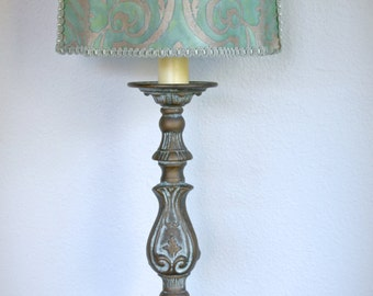 TALL Vintage French Cathedral Candlestick - Pricket Lamps - Fortuny Lamp Shade