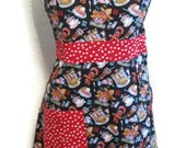 Full Apron - Route 66 Diner with Red Dots - Retro Apron- Route 66- Polka Dots- Diner- Coffee- Ice Cream- Burgers- Pie