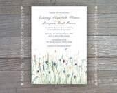 Wedding, Bridal Shower Invitation - Blue and Yellow Wildflowers Digital Printable File OR Professionally Printed Cards