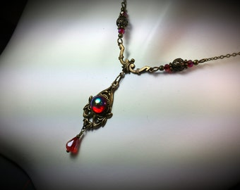 Blood Red Victorian Gothic Necklace, Red Cabochon Drop Steampunk Edwardian Bridal Necklace Antique Brass Filigree Titanic Temptations 15001