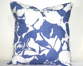 Denim Blue and White Pillow, 18 x 18 inch Cotton Pillow, Decorative Throw Pillow, Accent Cushion Cover