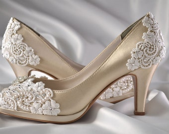 "Wedding Shoes - Womens Shoes PBT-0826A Vintage Wedding Lace Peep Toe 2 3/4"" Heels, Women's Bridal Shoes, Bridal Shoes, Women's Shoes, Lace"