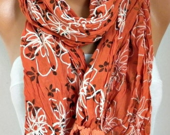 Burnt Orange Embroidered Cotton Scarf Easter Shawl,Bridesmaid gift,Cowl Scarf Gift for Her Mom  Women Fashion Accessories Scarves
