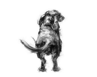 "Dachshund sketch ""The Wag"" - fine art dog print - Dachshund gift"