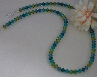 Swarovski Crystal Beaded Necklace Of Blues & Greens  FREE SHIPPING