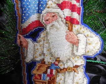 Victorian Patriotic Santa Cross Stitch Ornament--White