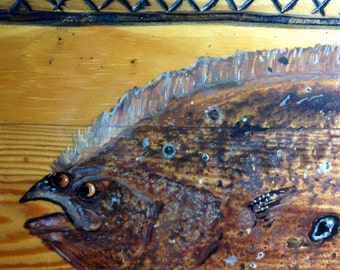 Flounder Fish Painting carved casting net Frame 3ft. recycled wood wall art home decor fishing centerpiece detailed original coastal home