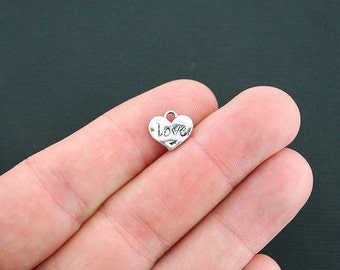 10 Love Heart Charms Antique Silver Tone Hammered Style- SC4663