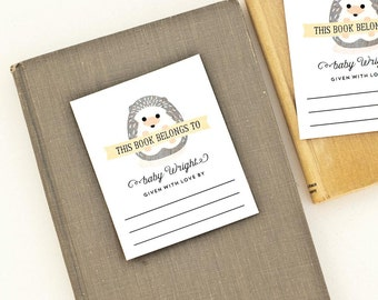 Personalized Bookplates, Woodland Baby Shower Bookplate // BABY HEDGEHOG