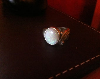 Australian White Opal Ring Sterling Silver Fire Green Orange Red Yellow Handmade Size 6 7 8 9 10 11 fine jewelry Unisex Angel Wing