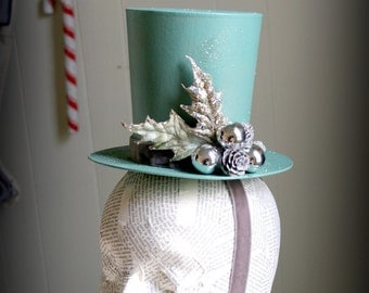 Winter Wonderland - Mint Green Tapered Top Hat with Silver, Tree Topper