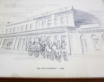 Big Four Building Sacramento California - 1852 Historical Image - Vintage Home Decor - Art Print - Wall Hanging - Victorian Decorating Idea