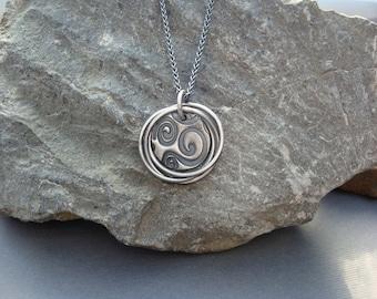 Round Swirl PMC Handmade Necklace
