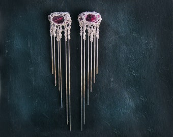 new collection - MEDUSA  raw ruby earrings