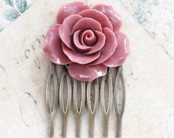 Dusty Pink Rose Hair Comb Big Rose Comb Flower Hair Comb Modern Bridal Floral Comb Wedding Hair Accessories Bridesmaids Gift