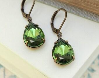 Dark Green Glass Earrings Rhinestone Drop Antique Brass Forest Green Jewel Teardrop Christmas Jewelry Gift for Women Garden Wedding
