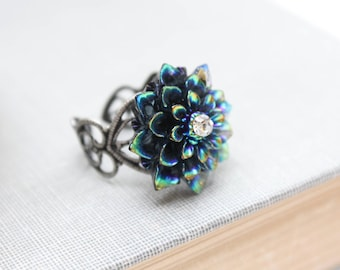 Black Chrysanthemum Ring Flower Ring Cocktail Ring Antique Silver Lace Filigree Ring Adjustable Black Blue Aqua Metallic Iridescent Shimmer