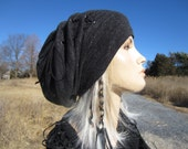 Women's Knit Hats Lightweight Beanie Bohemian Clothes Slouchy Beanies Tams Charcoal Gray Black Heather Leather Corset Lace Tie  A1343