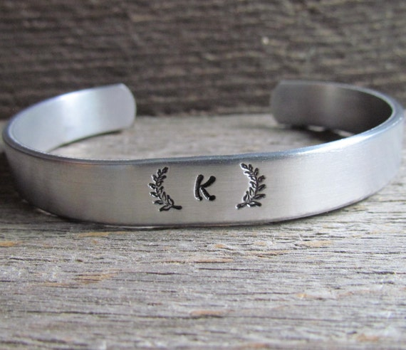 Stamped INITIAL BRACELET Laurel Wreath Cuff Jewelry Name Letter Alphabet Initials Sturdy 12 gauge Silver Color Aluminum Stocking Stuffer