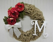Handmade Burlap Wreath with Pink Peonies, White Burlap Bow and White Monogram