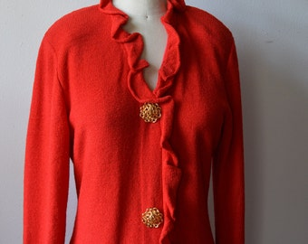 Vintage Red Knitted Dress by Steve Fabrikant 1970s Wool Knit Dress with Huge Gold Metal Buttons Ruffle Neck Sleeves and Front Size Small