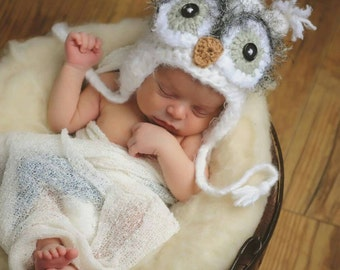 Owl Hat - Newborn Crochet Owl Hat, Baby Owl Hat, White Fuzzy Owl Hat, Crochet hat for Baby, Newborn Photo Prop