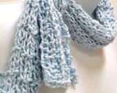 Powder Blue Knit Scarf, Lightweight Womens Scarf, Cotton Scarves, Fashion Scarves