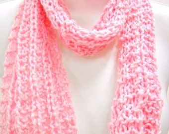 Knitted Scarf, Soft Pink Cotton Scarf, Small Lightweight Pink Scarf, Hand Knit Scarves